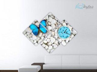 ساعت دیواری تابلوای 4تکه طرح پروانه