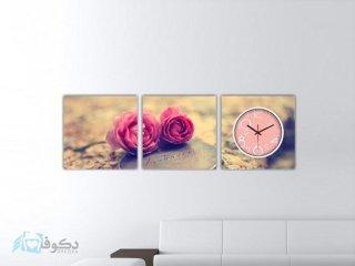 ساعت دیواری تابلوای 3تکه طرح گل