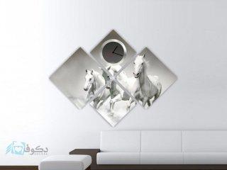 ساعت دیواری تابلوای 4 تکه مدل اسب