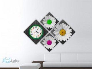 ساعت دیواری تابلوای 4تکه طرح میخک