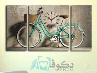 ساعت دیواری تابلوای 3تکه طرح دوچرخه