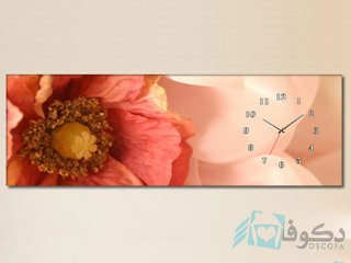 ساعت دیواری تابلوای طرح گل صورتی