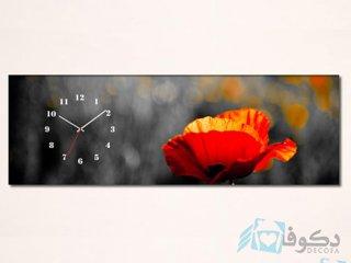 ساعت دیواری تابلوای طرح گل قرمز
