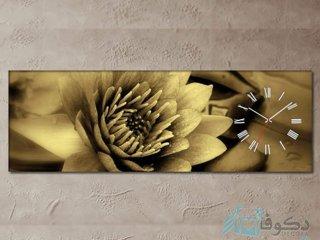 ساعت دیواری تابلوای طرح گل زرد