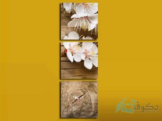 ساعت دیواری تابلوای 3 تکه مدل گل بهاری