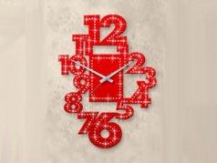 ساعت دیواری طرح اعداد فانتزی قرمز