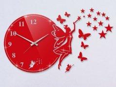 ساعت دیواری فانتزی فرشته نگیندار قرمز