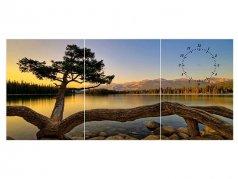 ساعت دیواری تابلوای سه تکه مدل درخت