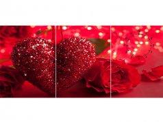 ساعت دیواری تابلوای سه تکه مدل قلب سرخ