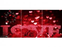 ساعت دیواری تابلوای سه تکه مدل LOVE