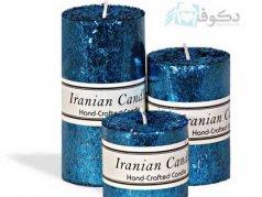 شمع تزئینی استوانه الیزابت آبی