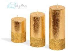 شمع استوانه ای با ورق طلا