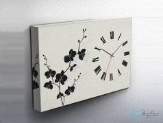 ساعت دیواری تابلوای طرح گل پاپیون