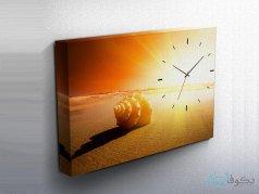 ساعت دیواری تابلوای طرح غروب آفتاب و حلزون