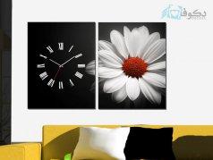 ساعت دیواری تابلو ای دو تکه طرح گل سفید