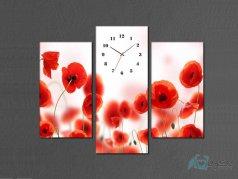 ساعت دیواری تابلو ای سه تکه ای طرح گل ناز