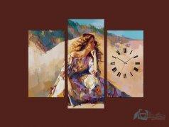 ساعت دیواری تابلو ای سه تکه ای طرح دخترک 2
