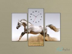 ساعت دیواری تابلو ای سه تکه ای طرح اسب