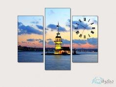 ساعت دیواری تابلو ای سه تکه ای طرح فانوس دریایی