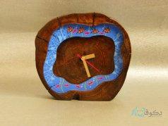 ساعت رومیزی چوبی ماهی و نیلوفر