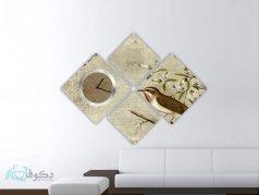 ساعت دیواری تابلوای 4 تکه طرح پرنده