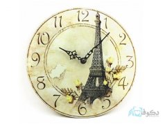 ساعت دیواری چوبی طرح پاریس