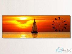 ساعت دیواری تابلوای طرح غروب آفتاب و قایق