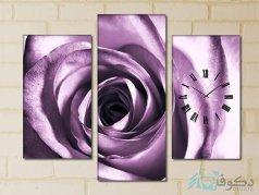 ساعت دیواری تابلو ای سه تکه طرح گل بنفش