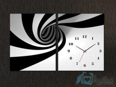 ساعت دیواری تابلو ای دو تکه طرح مارپیچ