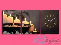 ساعت دیواری تابلوای 3تکه طرح شمع