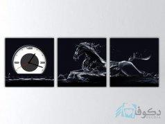 ساعت دیواری تابلوای سه تکه ای طرح اسب