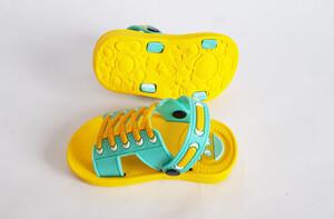 دمپایی بچه گانه طرح بندی (زرد-فیروزه ای)