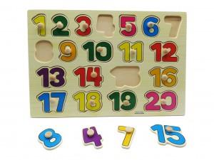 پازل چوبی پین دار چوبی اعداد