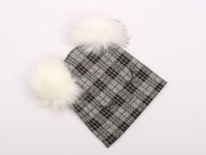 کلاه نخی چهارخانه طوسی (دارای سایز بندی)