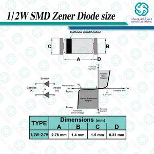 دیود زنر 2.7V 1/2W SMD