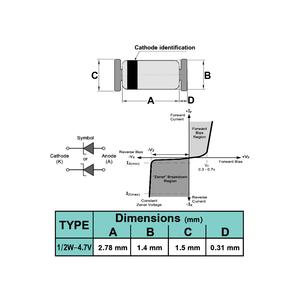 دیود زنر 4.7V 1/2W SMD