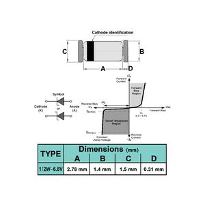 دیود زنر 6.8V 1/2W SMD