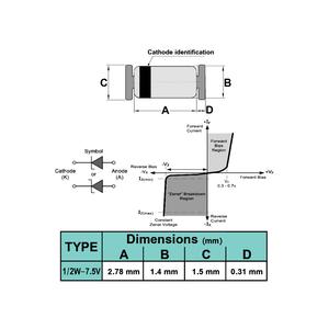 دیود زنر 7.5V 1/2W SMD
