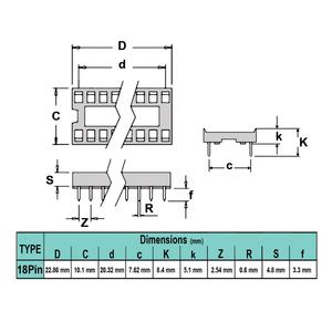 سوکت IC ساده 18پین