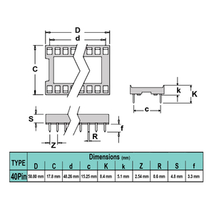 سوکت IC ساده 40پین