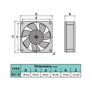 فن 5x5 12V 5010