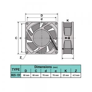 فن 8x8x2.5 12V 8025