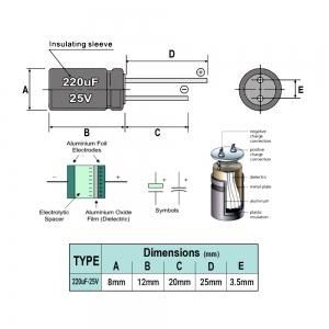 خازن الکترولیت 220uF-25V