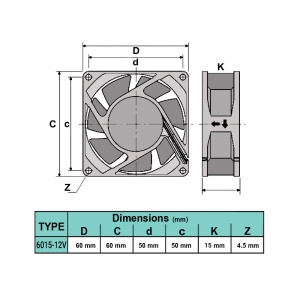 فن 6x6x1.5 12V 6015