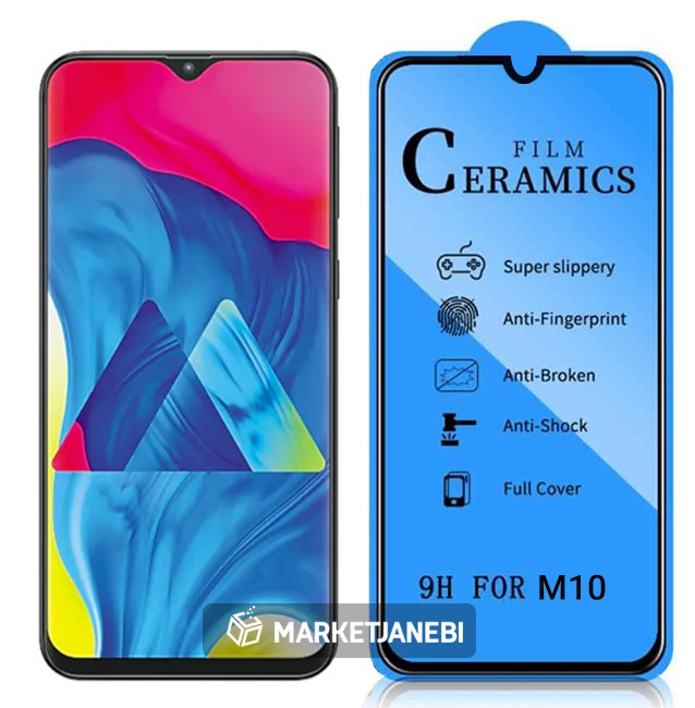 گلس سراميكى ceramics glass Samsung Galaxy M10 تمام صفحه و تمام چسب