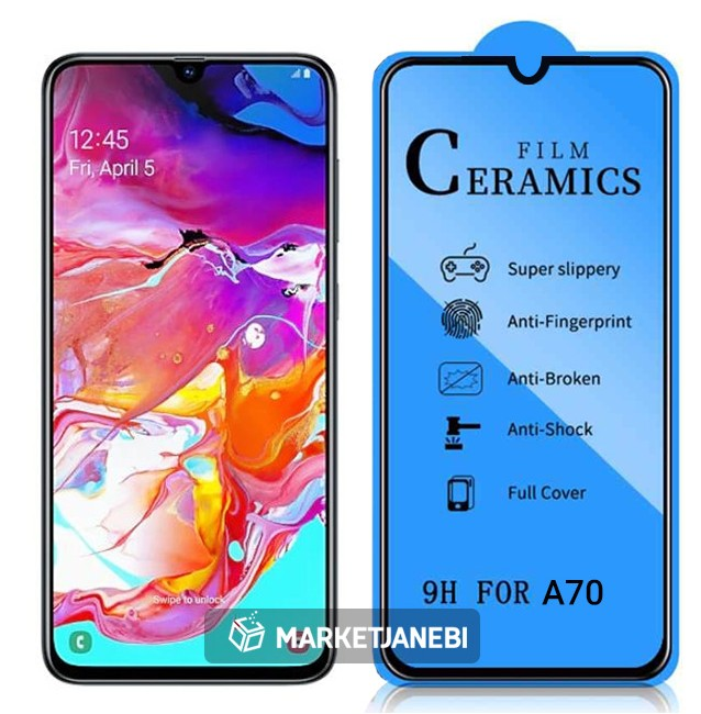 گلس سراميكى ceramics glass Samsung Galaxy A70 تمام صفحه و تمام چسب