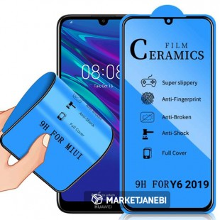 گلس سراميكى ceramics glass Huawei Y6 2019 تمام صفحه و تمام چسب