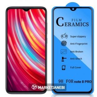 گلس سراميكى ceramics glass Xiaomi Redmi Note 8 Pro تمام صفحه و تمام چسب