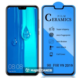 گلس سراميكى ceramics glass Huawei Y9 2019 تمام صفحه و تمام چسب