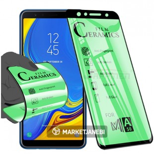 گلس سراميكى ceramics glass samsung galaxy A7 2018 تمام صفحه و تمام چسب